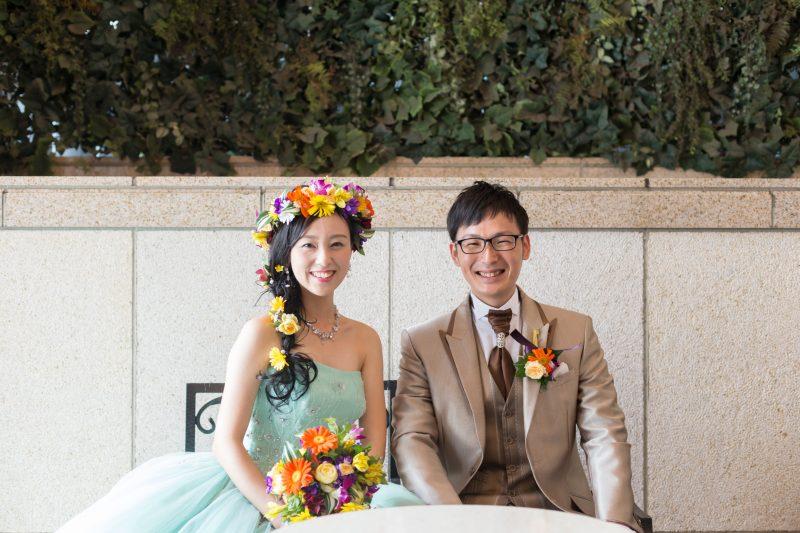 家族婚 お色直しの記念写真
