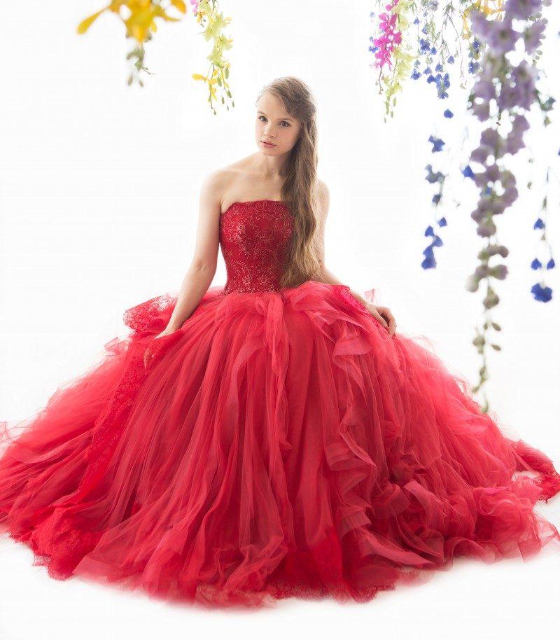 冬 結婚式 カラードレス 赤