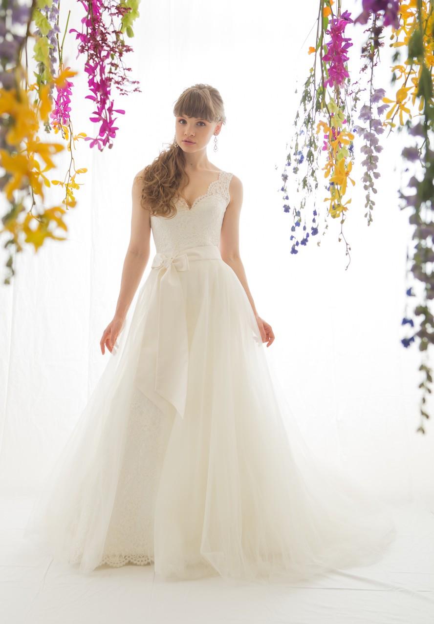 オーバースカート ウェディングドレス アレンジ マーメイド ライン