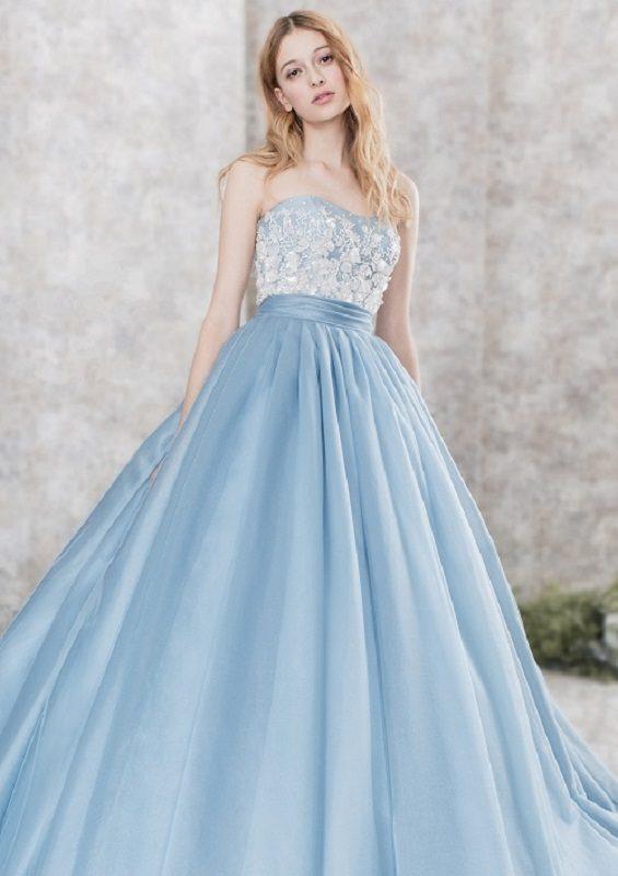 ブルー カラードレス ウェディングドレス シンデレラ テーマ