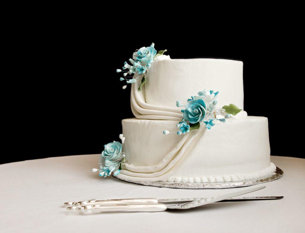 ウェディングケーキ シンデレラ テーマ ブルー ホワイト