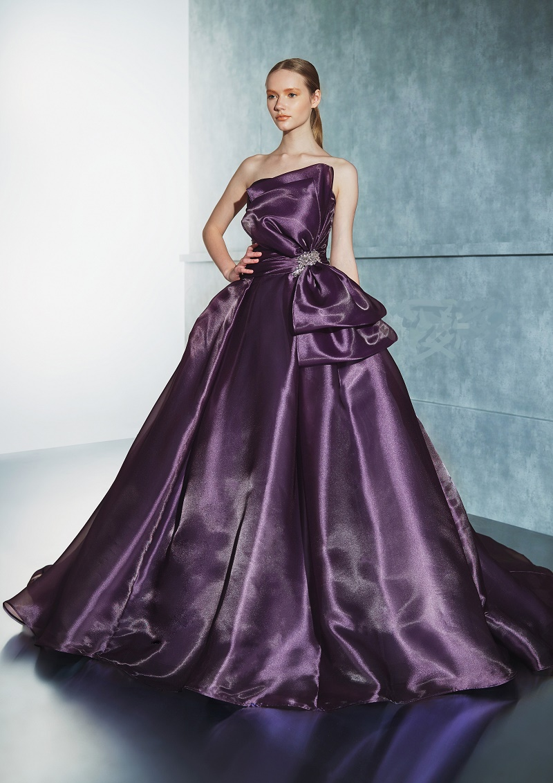 ラベンダー カラー ドレス お色直し 大人可愛い オシャレ 光沢